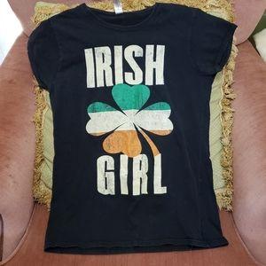 Irish Girl Tee Shirt Black Green Orange Sz L